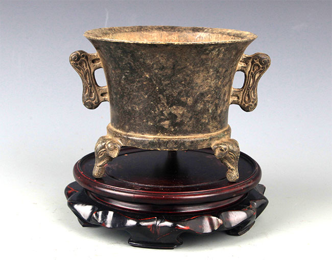 A DOUBLE EAR BRONZE CENSER