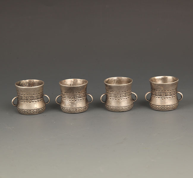 GROUP OF 4 SILVER PLATED WINE CUP