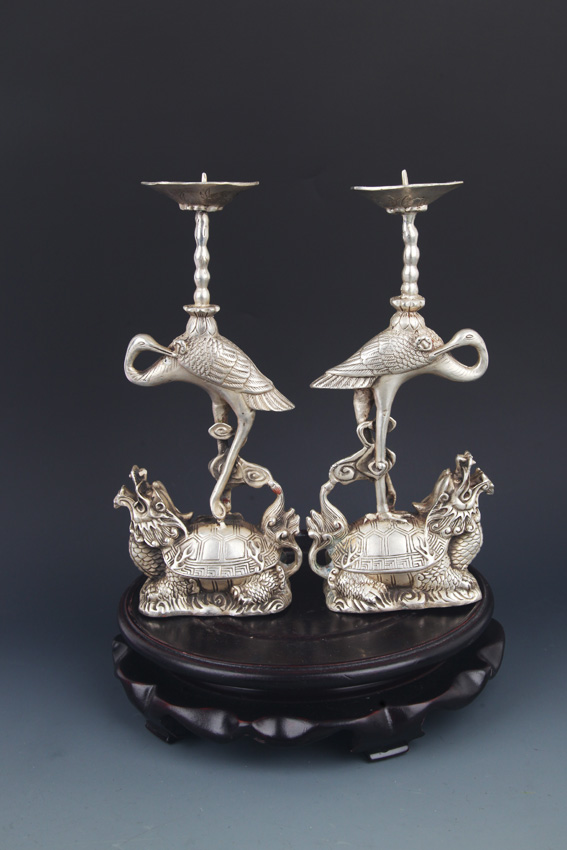 PAIR OF TURTLE AND CRANE CANDLE HOLDER
