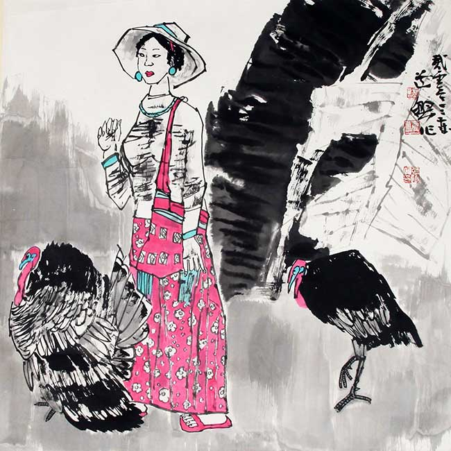 A ZHANG DAO XING CHINESE PAINTING, ATTRIBUTED TO