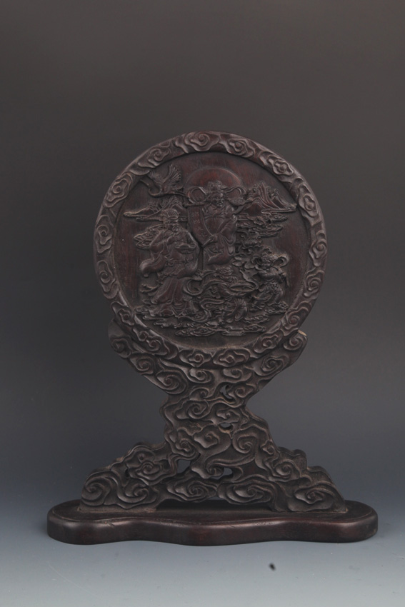 A FINELY CARVED ZI TAN MU TABLE SCREEN
