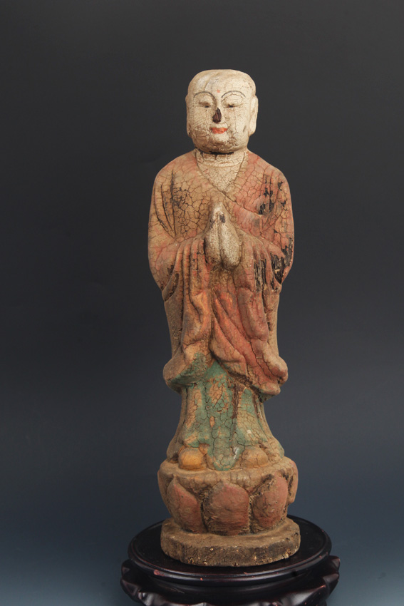 A COLOR PAINTED WOODEN AMITABHA