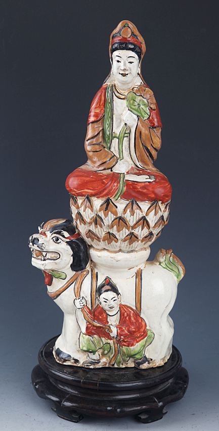 A FAMILLE-ROSE PAINTED PORCELAIN GUAN YIN
