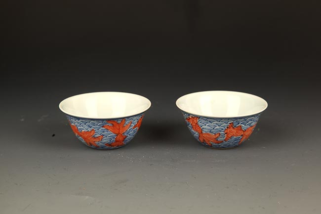 PAIR OF BLUE AND WHITE, YOU LI HONG PORCELAIN CUP