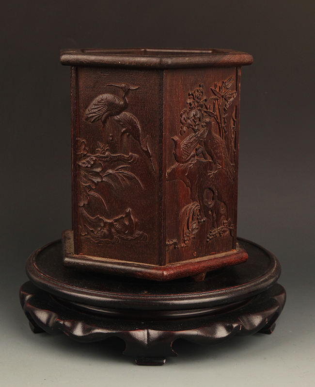 A FINE PHOENIX CARVING HUANG HUA LI MU BRUSH POT