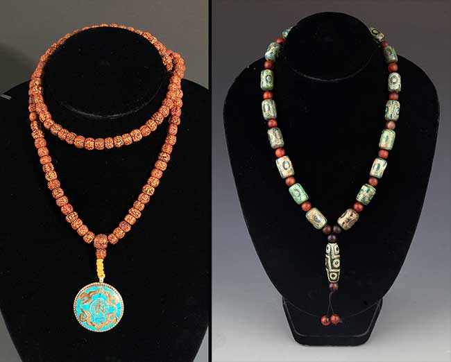 TWO CHINESE NECKLACE, PUTI AND AGATE