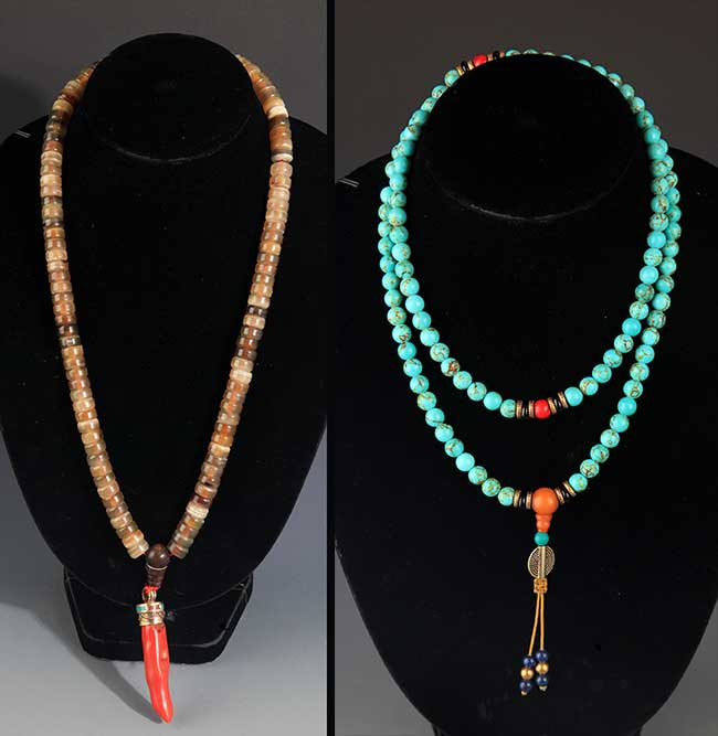 TWO CHINESE NECKLACE, GLASSWARE AND TURQUOISE STONE