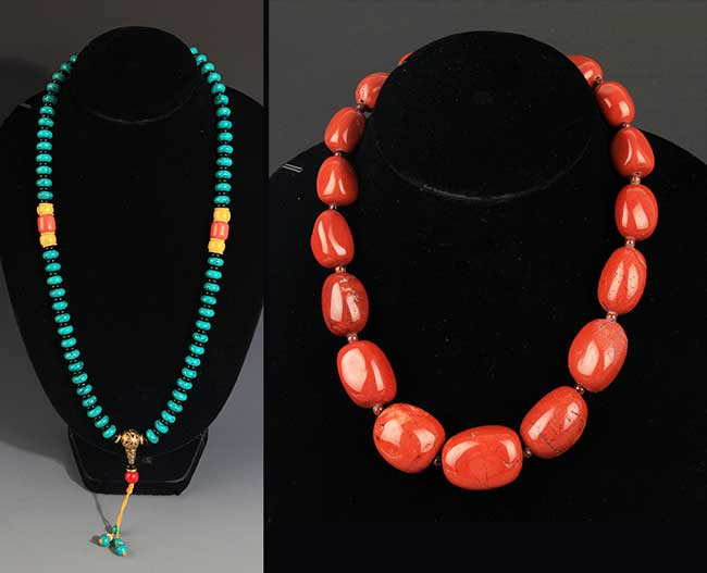 TWO CHINESE NECKLACE, TURQUOISE STONE AND AGATE STONE