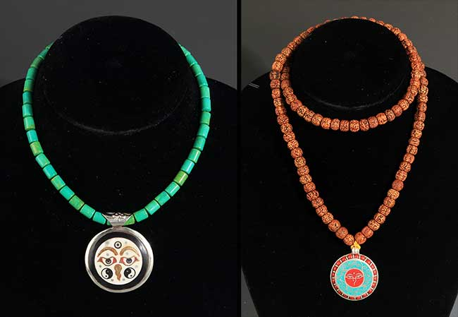 TWO CHINESE NECKLACE, TURQUOISE STONE AND PU TI