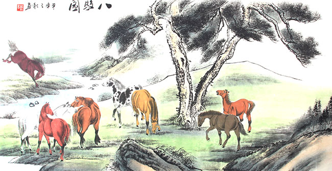A LARGE CHINESE HORSE PAINTING