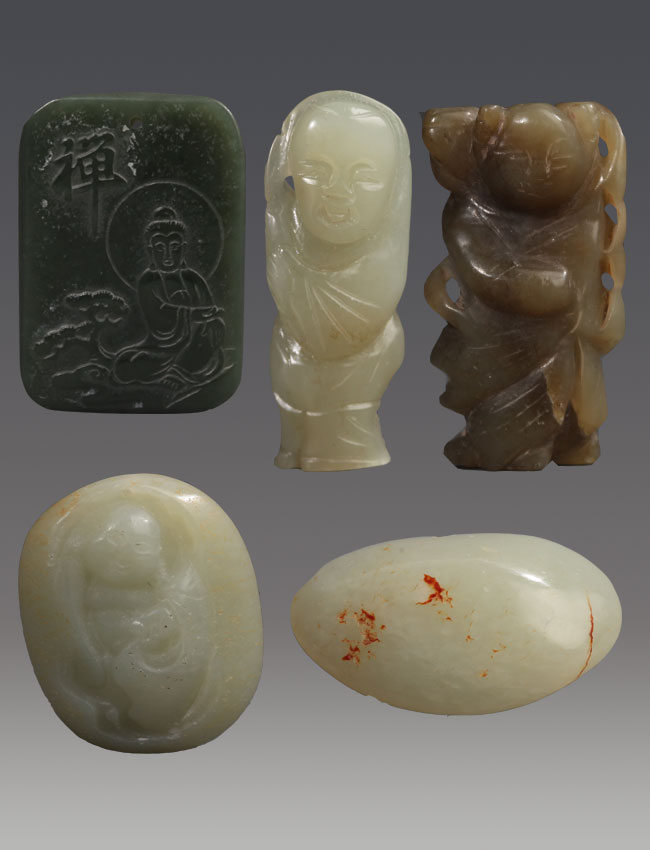 GROUP OF FIVE PALE CELADON JADE PENDANT