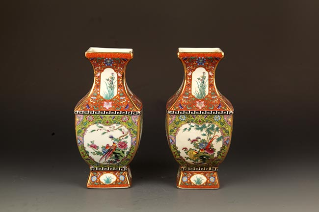 PAIR OF ENAMEL COLOR SQUIRE PORCELAIN DECOREATIONAL JAR
