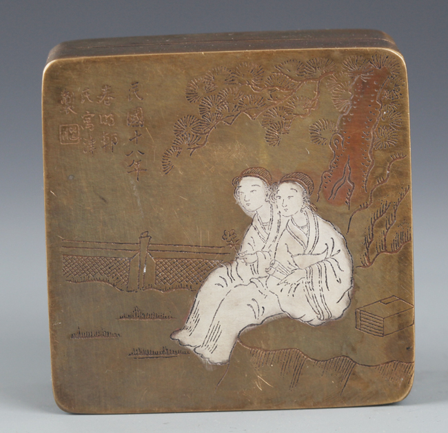 A FINELY STORY CARVED BRONZE INK BOX