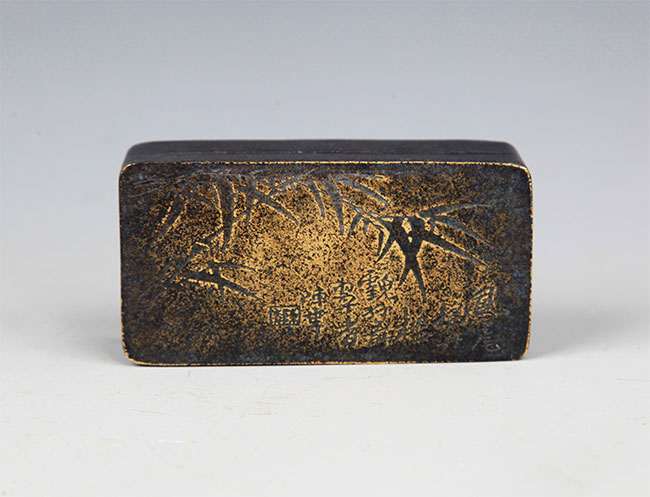 A FINE BRONZE INK BOX