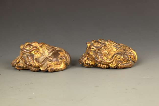 GROUP OF TWO ELEPHANT GILT BRONZE PAPER WEIGHT