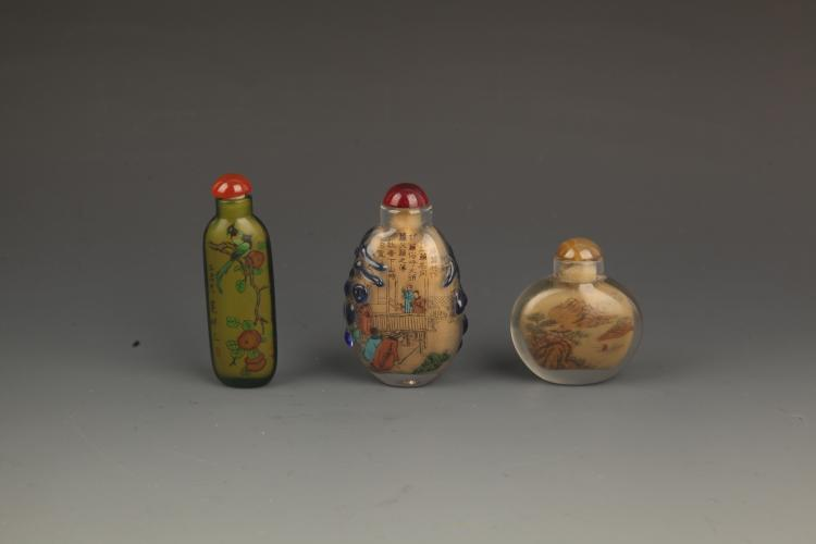 GROUP OF 3 FINELY PAINTED CRYSTAL SNUFF BOTTLE