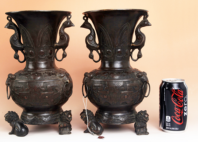 PAIR OF FINELY CARVED BRONZE VASE