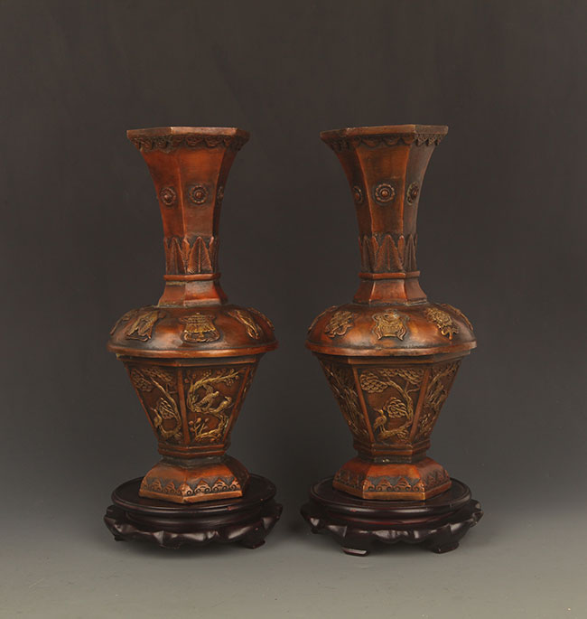 PAIR OF BRONZE PHOENIX CARVING VASE