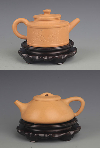 GROUP OF TWO YELLOW COLOR ZISHA TEA POT