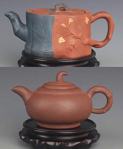 GROUP OF TWO FINELY CARVED ZISHA TEAPOT