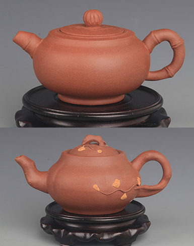 GROUP OF TWO FINELY MADE ZISHA TEAPOT