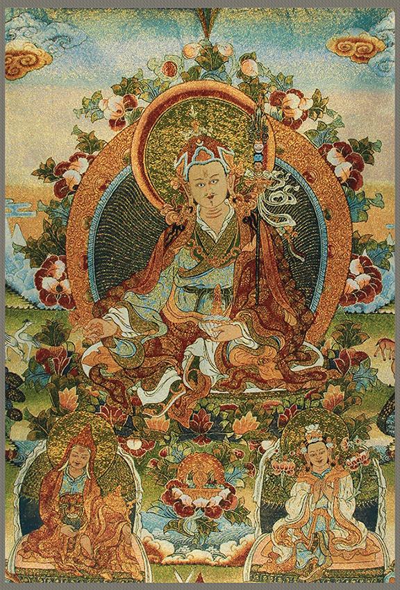 A FINE VAJRASATTVA BUDDHA ON CHINESE TAPESTRY