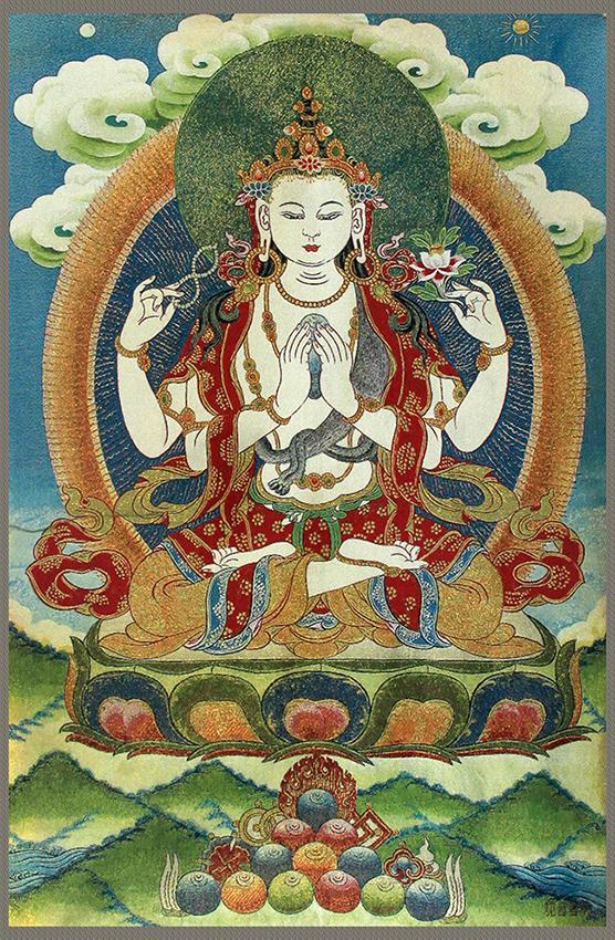 A FINE GUAN YIN BUDDHA ON CHINESE TAPESTRY