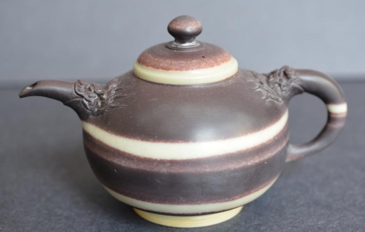 A Soapstone Belted  Tea Pot