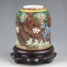 COLORFUL PAINTED SMALL PORCELAIN JAR