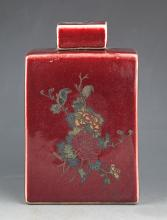 A FLOWER PAINTED RED COLOR PORCELAIN BOTTLE