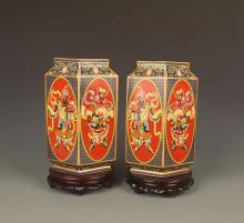 PAIR OF ENAMEL COLOR RED PAINTED PORCELAIN JAR