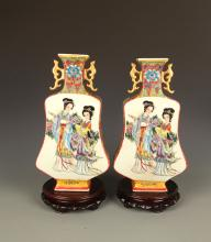 PAIR OF FAMILLE-ROSE FEMALE PORCELAIN JAR