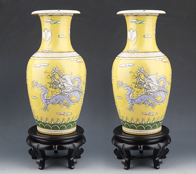 TWO FINELY PAINTED YELLOW COLOR PORCELAIN BOTTLE