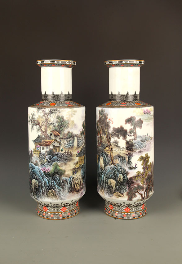 PAIR OF FINELY PAINTED TALL PORCELAIN JAR
