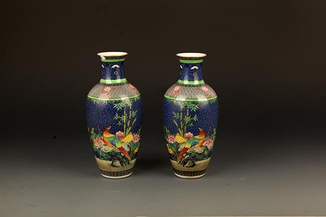PAIR OF BLUE GROUND FAMILLE ROSE PORCELAIN BOTTLE
