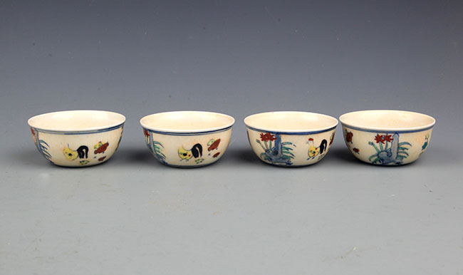 GROUP OF 4 DOUCAI PORCELAIN CUP