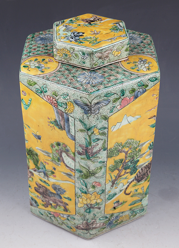 COLORFUL PAINTED PORCELAIN JAR