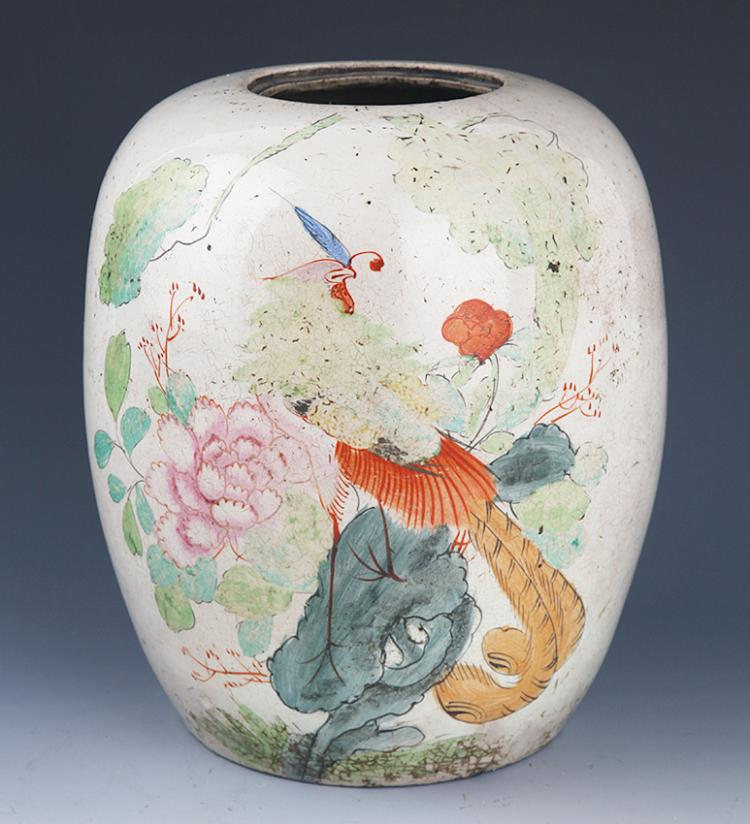 A COLORFUL BIRD PAINTED PORCELAIN JAR