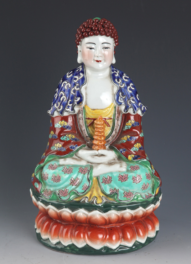 VERY COLOR PAINTED PORCELAIN BUDDHA MODEL
