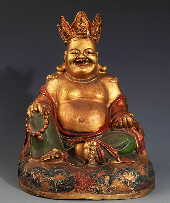 A  FINELY CARVED BRONZE MAITREYA BUDDHA
