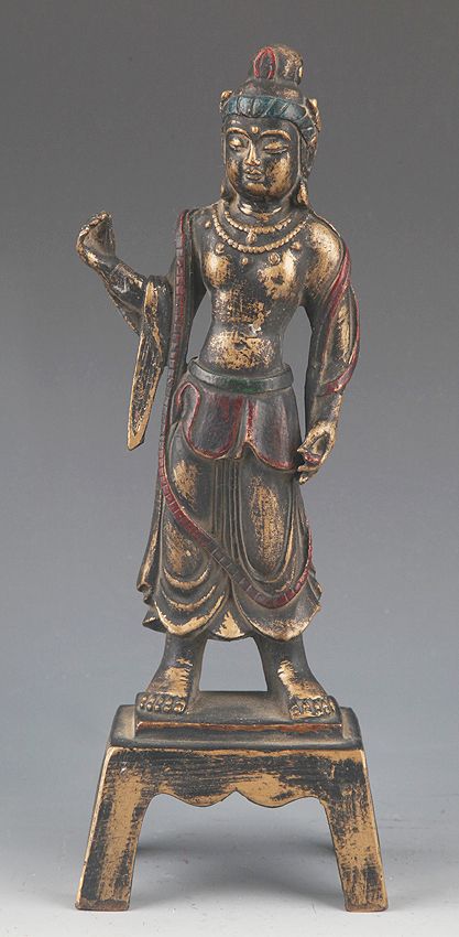 A DETAIL AND FINELY CARVED BRONZE TIBETAN BUDDHA
