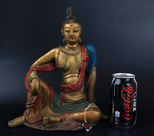 GILT AND COLORED BRONZE TIBETAN BUDDHA