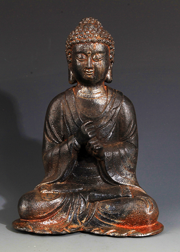 A FINELY MADE IRON AKSHOBHYA BUDDHA