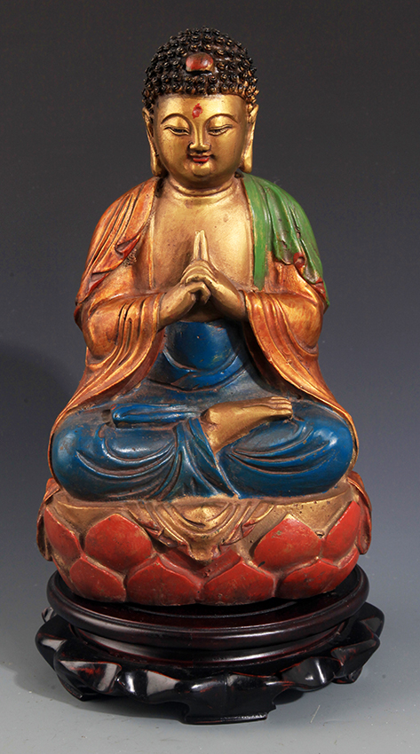 A COLORED AND FINELY CARVED BRONZE BUDDHA