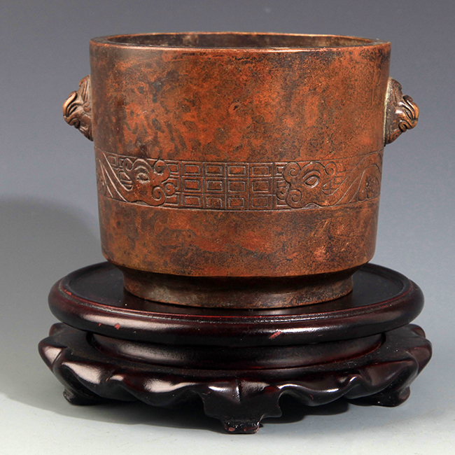 A FINELY CARVED BRONZE CENSER