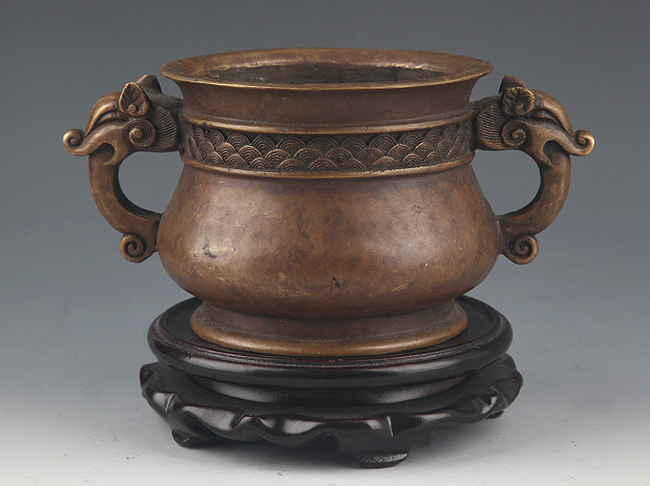 FINELY CARVED DOUBLE EAR BRONZE CENSER