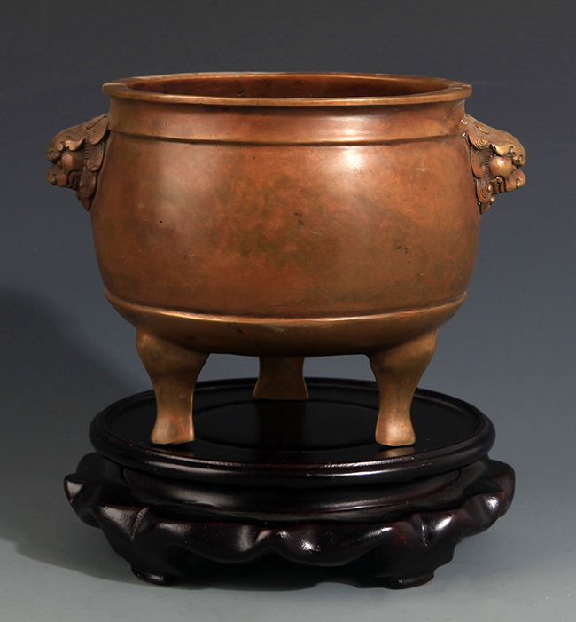 A DOUBLE EAR DRUM SHAPE BRONZE CENSER