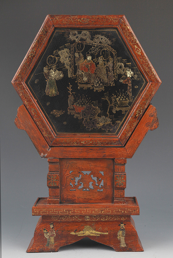 FINELY PAINTED CHINESE LACQUER TABLE PLAQUE