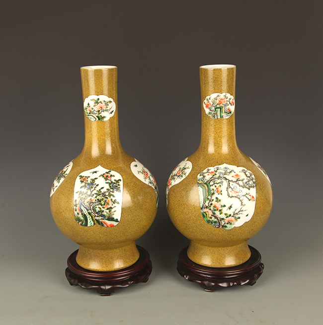 PAIR OF GLAZED PORCELAIN LONG NECK JAR