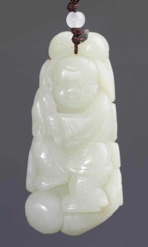 A GREENISH WHITE LUCKY BOY JADE PENDANT